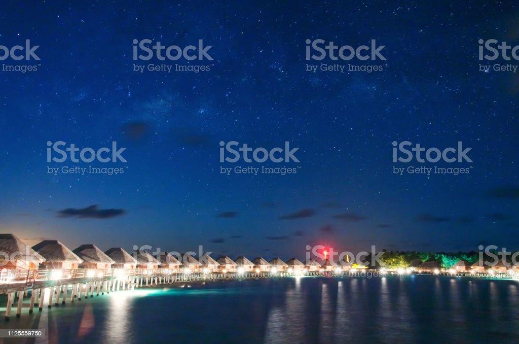 Tropical Beach Paradise Resort Of Maldives At Night Stock