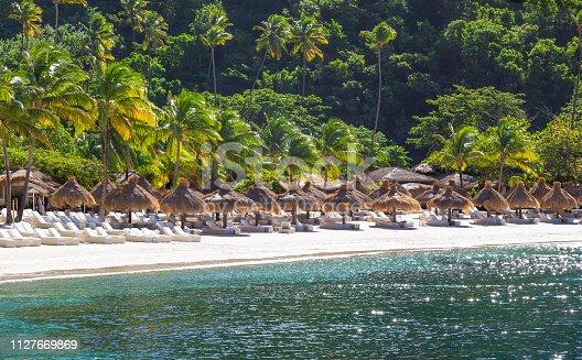Beautiful White sandy beach of St Lucia, Caribbean Gros