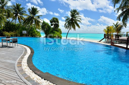 Tropical Beach Resort Hotel Cafe Bar With Swimming Pool Stock Photo