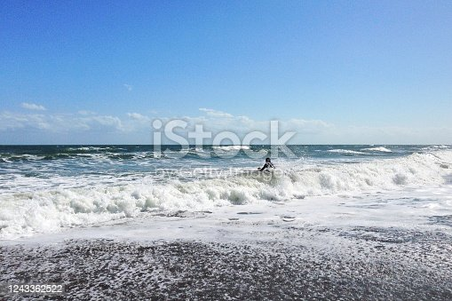 Cocoa Beach, Florida/USA - Nov 5, 2016: Picture of the sandy beach in Florida. Huge waves and dark sand on Cocoa Beach at sunny weather.