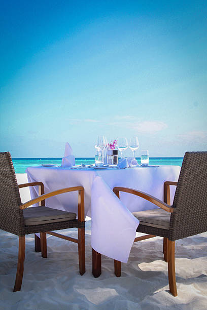 Tropical Beach Restaurant by the Ocean stock photo
