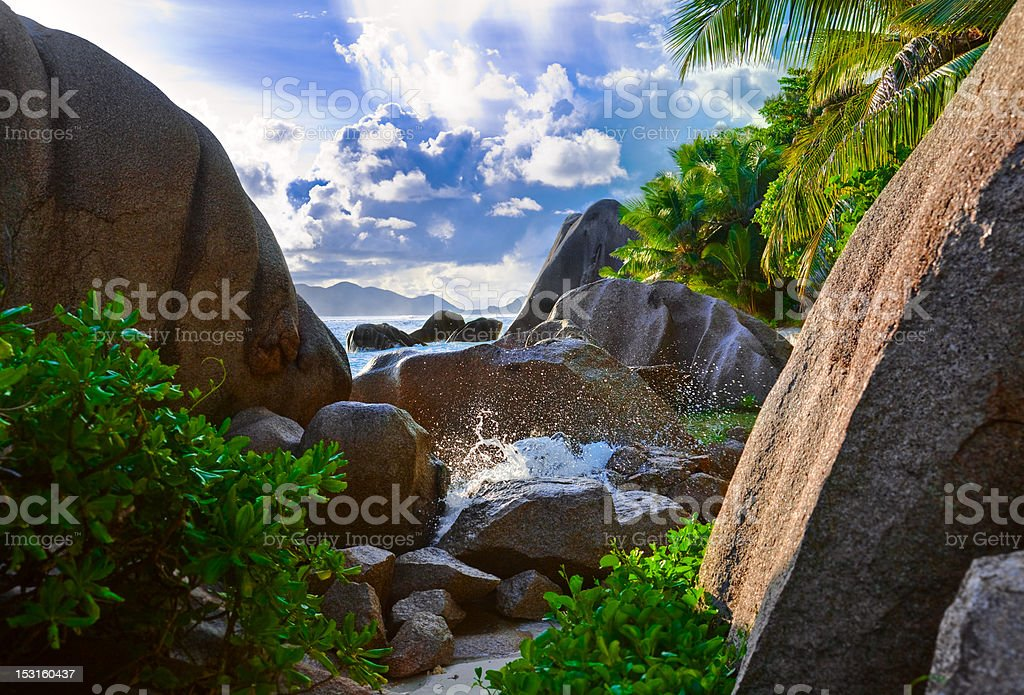 Tropical beach Source D'Argent at Seychelles royalty-free stock photo
