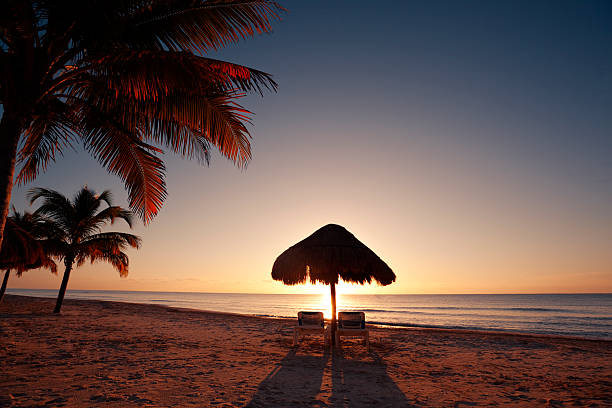 Tropical Beach Sunset In Vacation Resort Hotel Of Cancun