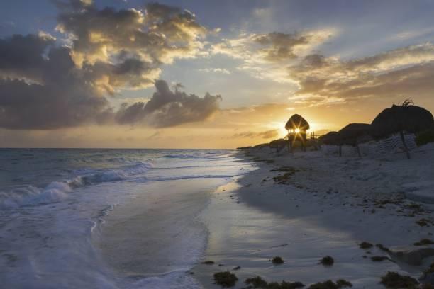 Tropical Beach Sunset on Cayo Largo Del Sur Island of the Coast of Cuba stock photo