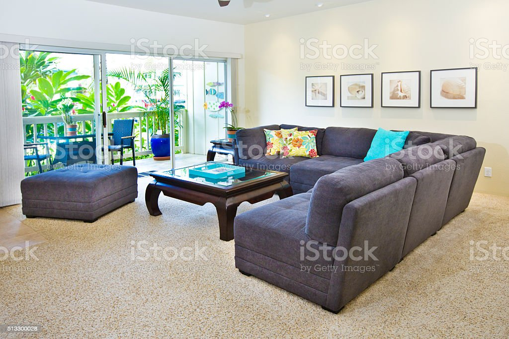 Tropical Beach Themed Condominium Apartment Living Room And Kitchen Stock Photo Download Image Now Istock
