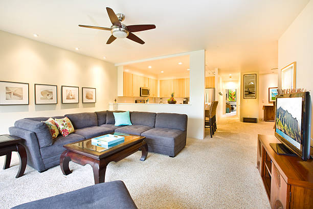 Tropical Beach Themed Condominium Apartment Living Room and Kitchen A tropical beach house themed contemporary apartment condominium interior design. with modern decor, sectional sofa, flat screen TV, open concept kitchen and beach themed wall hanging and art work.  ceiling fan stock pictures, royalty-free photos & images