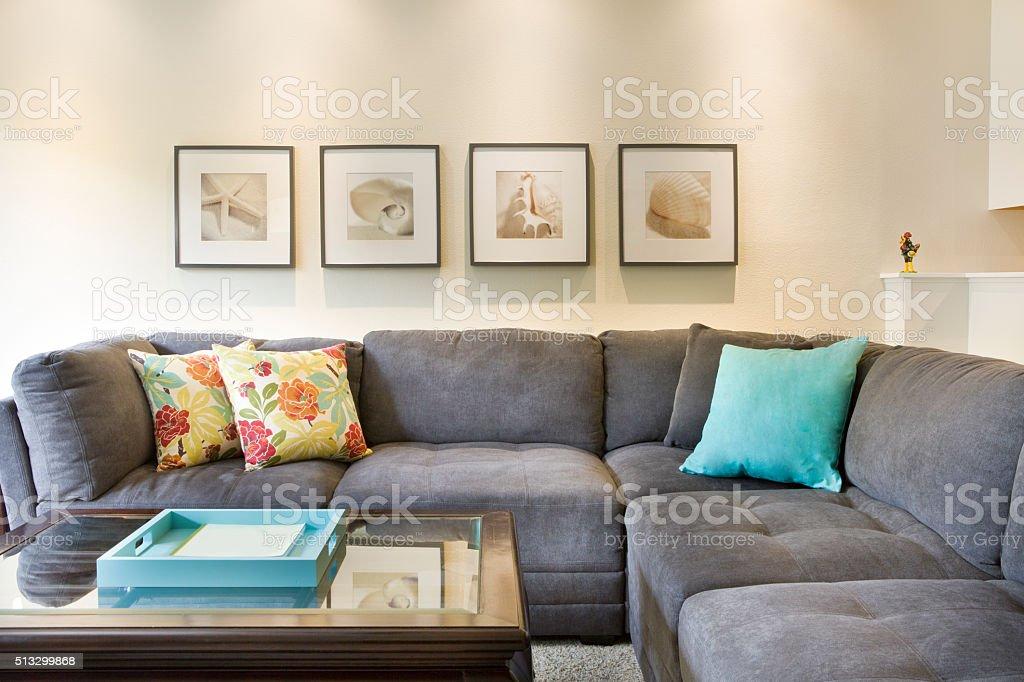 Tropical Beach Themed Condominium Apartment Living Room stock photo