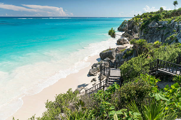 Tropical Beach, Tulum, Mexico stock photo