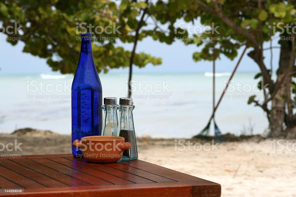 Tropical beach vacation and dining royalty-free stock photo
