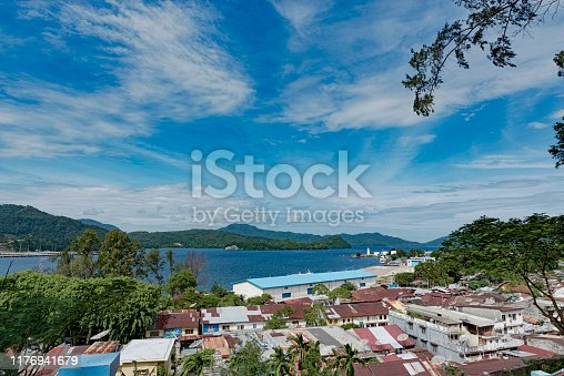 1130689824 istock photo Tropical beach view from above, beautiful sky, tree 1176941679
