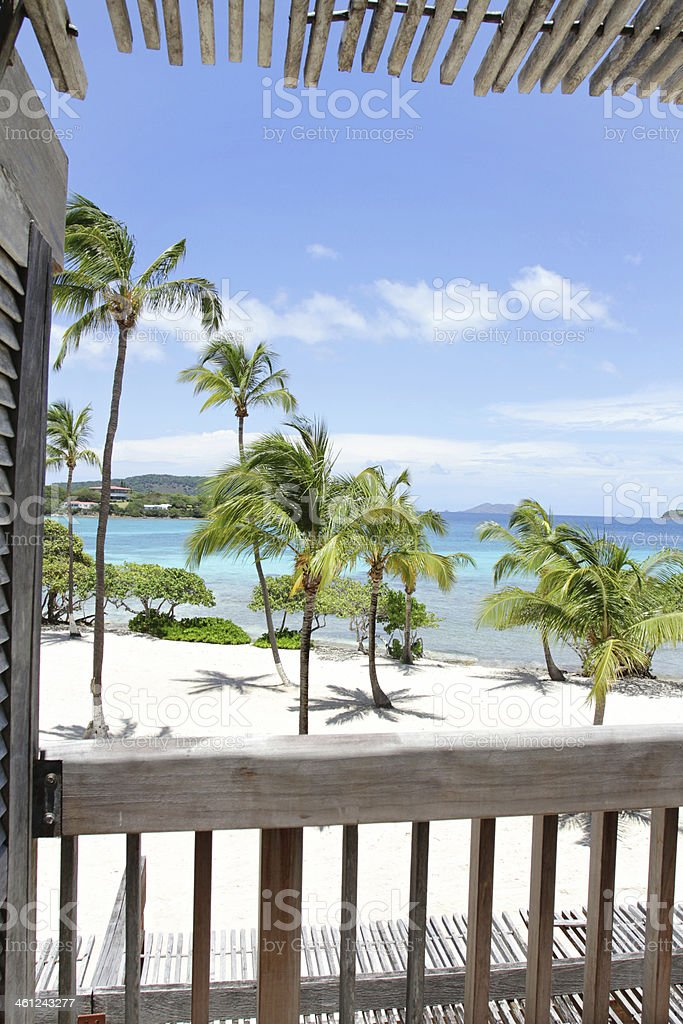 Tropical Beach, view from Deck stock photo