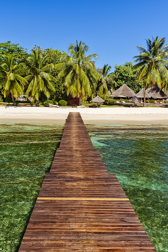 istock Tropical beach view from the pontoon 861034558
