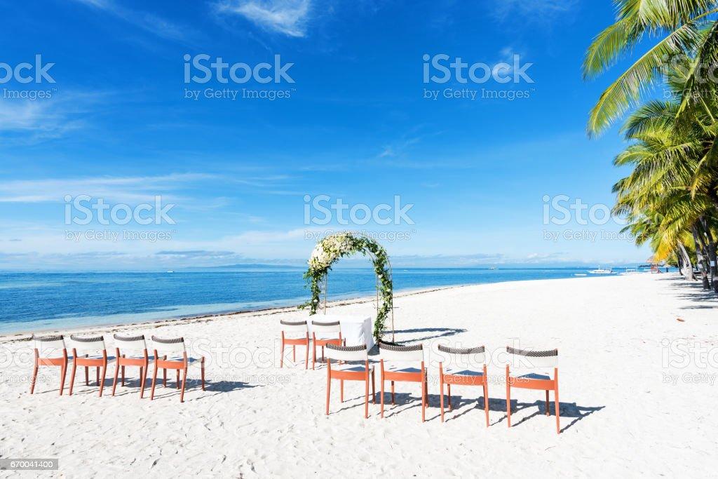 Tropical Beach Wedding Setup Royalty Free Stock Photo