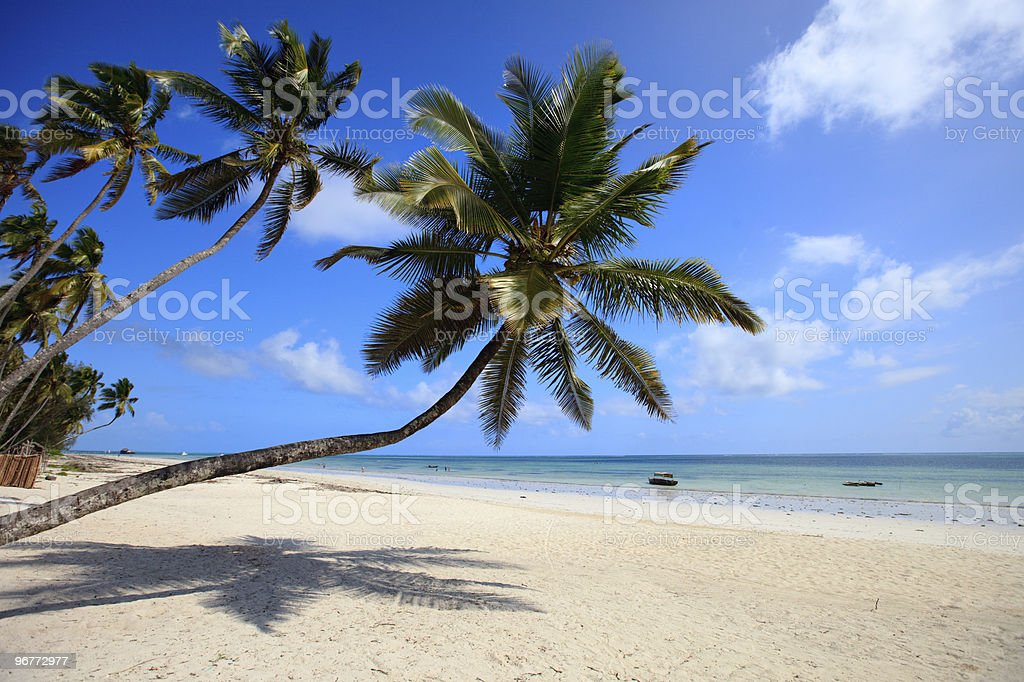 Tropical beach with empty white sand and clear blue ocean stock photo