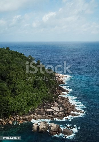 999001484 istock photo Tropical Beach with in Seychelles and Palm trees 1204443406
