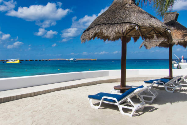Tropical beach with palapas stock photo