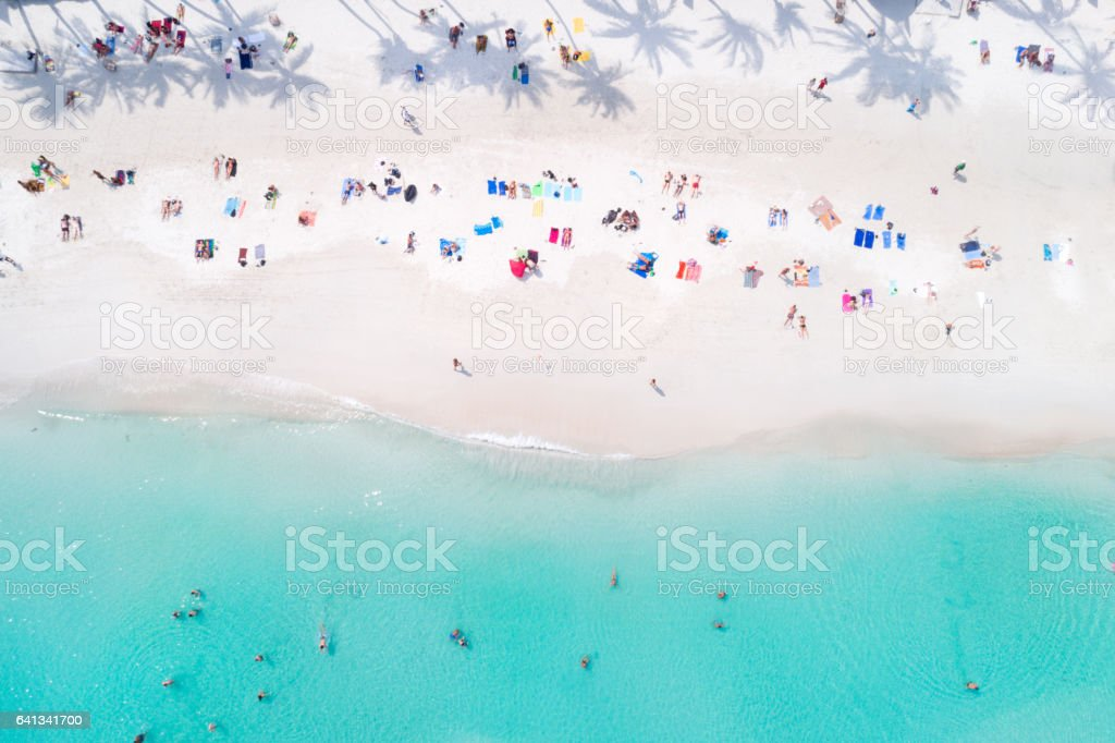 Tropical Beach with Palm Tree Shadows, Thailand stock photo