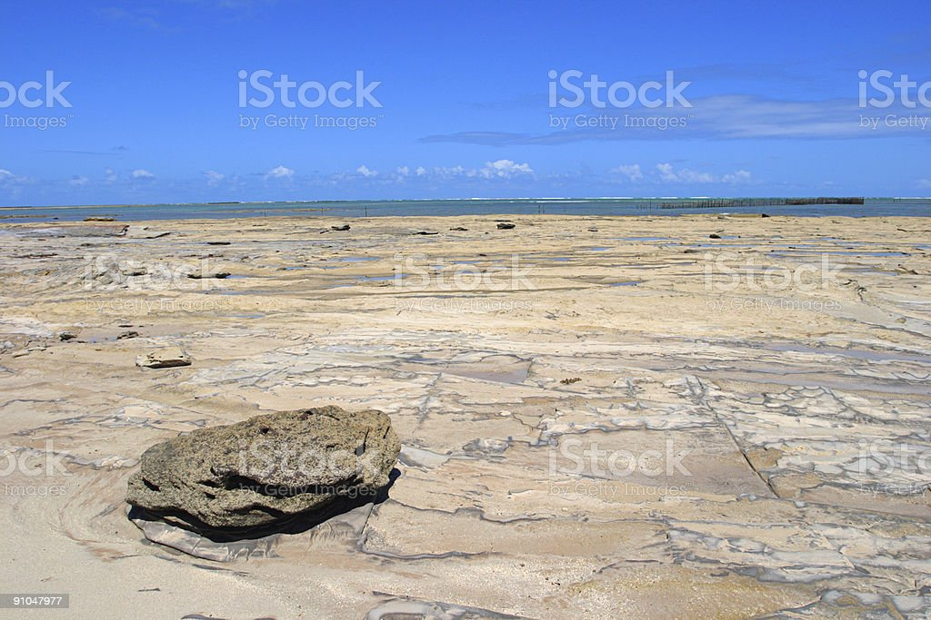 Tropical beach with rocks (Brazil) royalty-free stock photo
