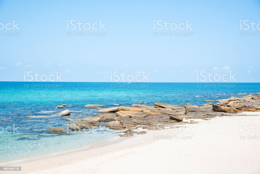Tropical beach with sea and blue sky royalty-free stock photo