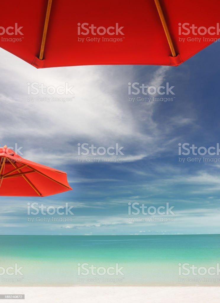 Tropical Beach with Sun Umbrellas (XXXL) royalty-free stock photo