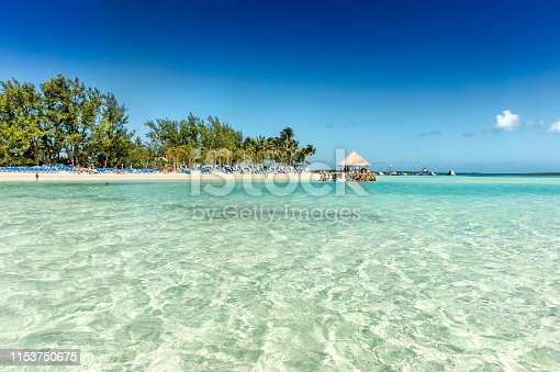 Tropical sandy beach with coconut palms and turquoise water. Caribbean Sea