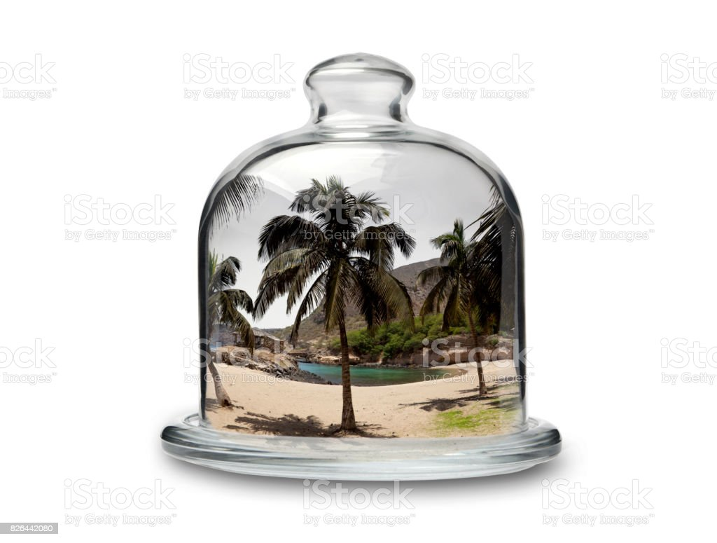 Tropical Beah in Crystal Cakestand stock photo