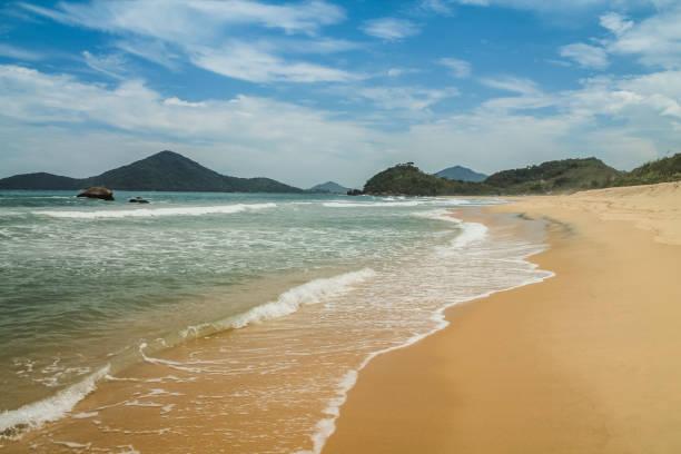Tropical Brazilian Beach in a sunny day - Red Beach of the North - Ubatuba - SP