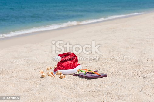 istock Tropical Christmas on a sandy beach with blue sea background 521875907