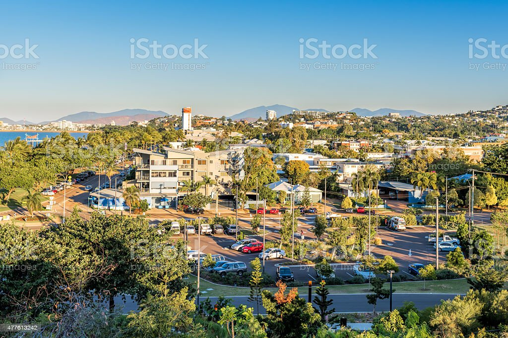 Tropical city at sunset from aerial view stock photo