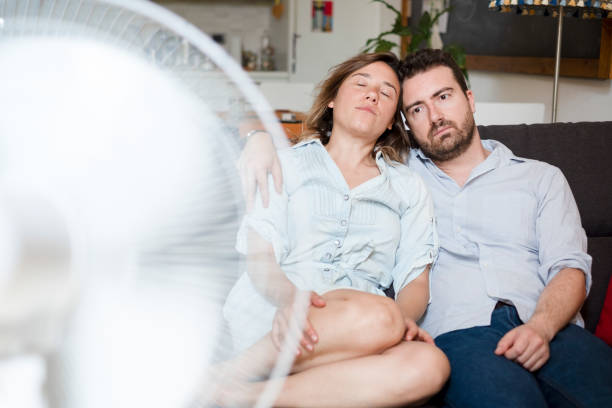Tropical climate and air conditioner is needed stock photo