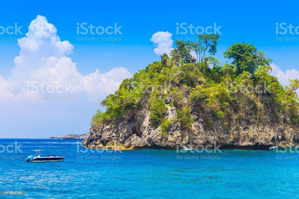 Tropical coastline of Nusa Penida island. stock photo