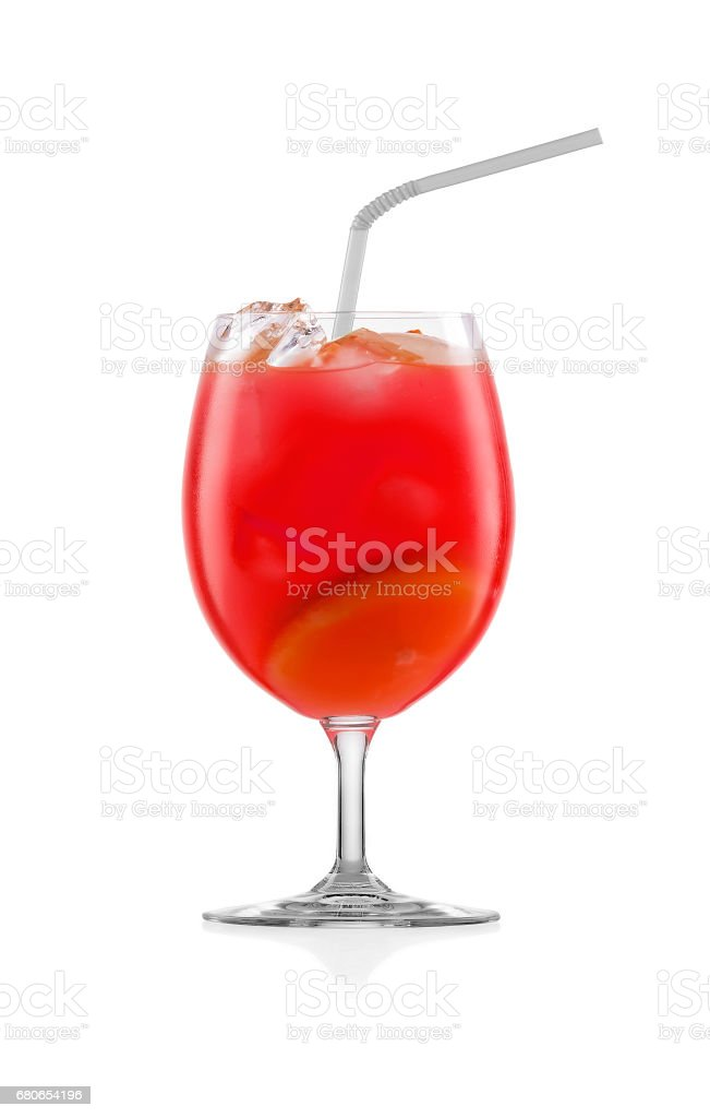 Tropical cocktail over white. stock photo