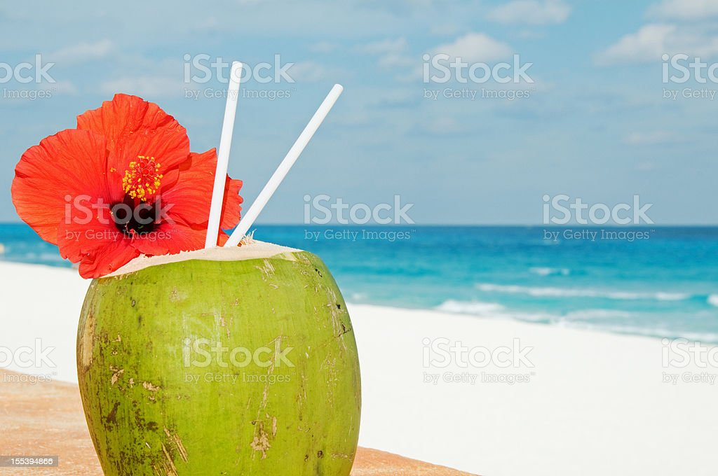 Tropical coconut cocktail with hibiscus royalty-free stock photo
