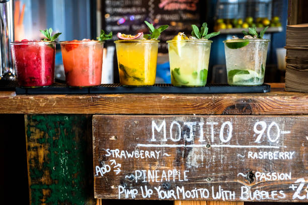 Tropical colorful mojito at a wooden bar ´drinks at the bar counter mojito stock pictures, royalty-free photos & images
