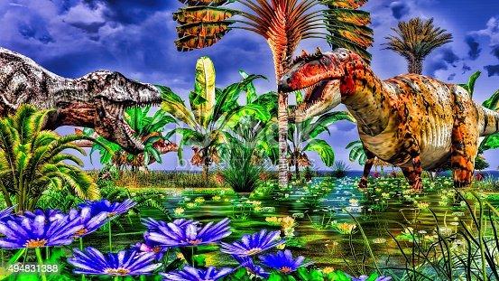 istock Tropical dinosaur park 494831388