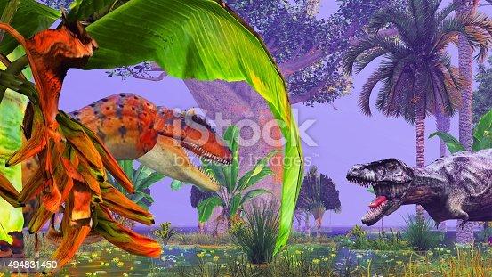 istock Tropical dinosaur park 494831450