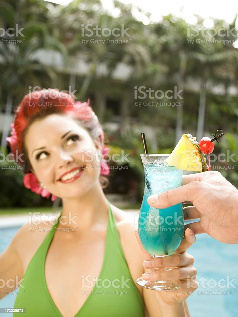 Tropical Drink by the Pool royalty-free stock photo
