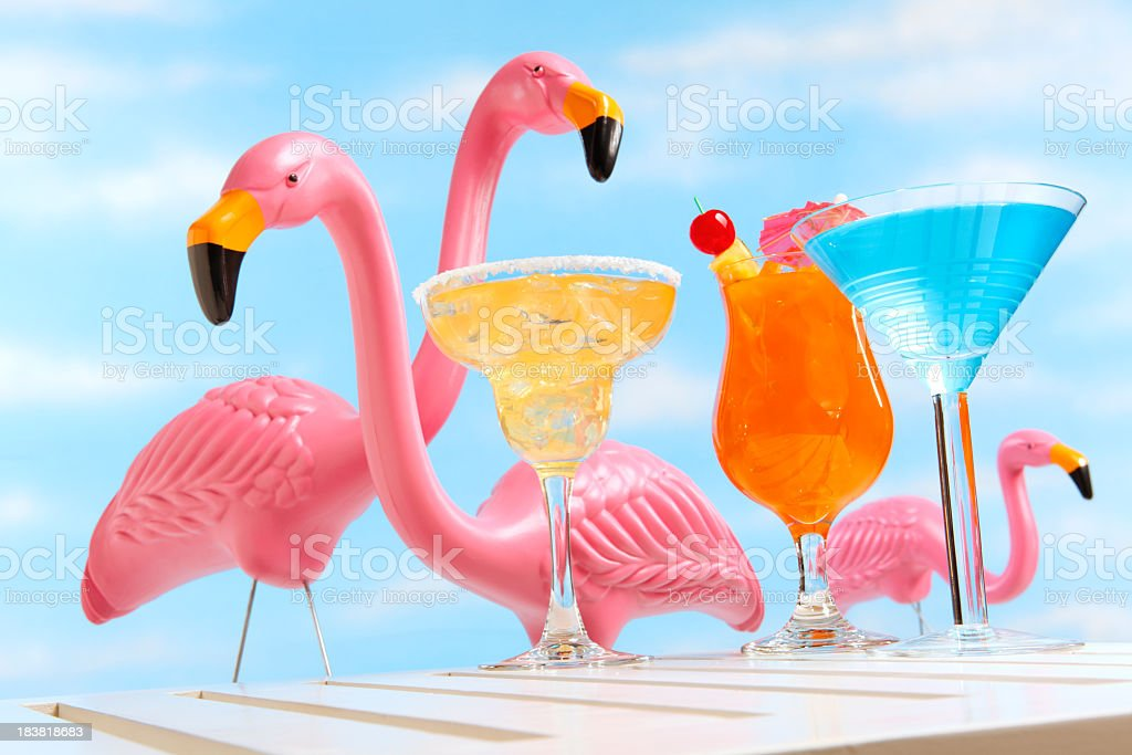 Tropical drinks in front of three pink flamingos stock photo
