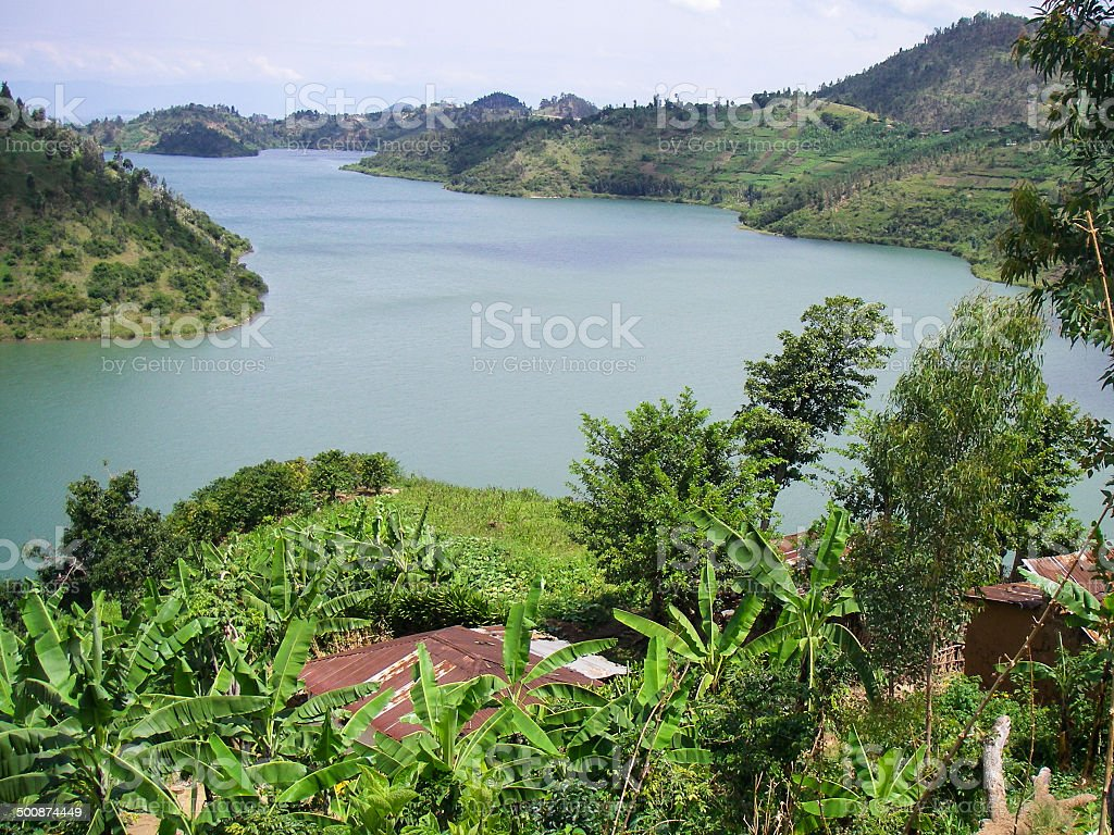 Tropical Farmstead overlooking Bay of Lake Kivu Kibuye Rwanda stock photo
