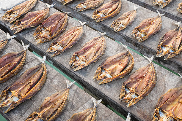 Tropical fish drying in the sun stock photo