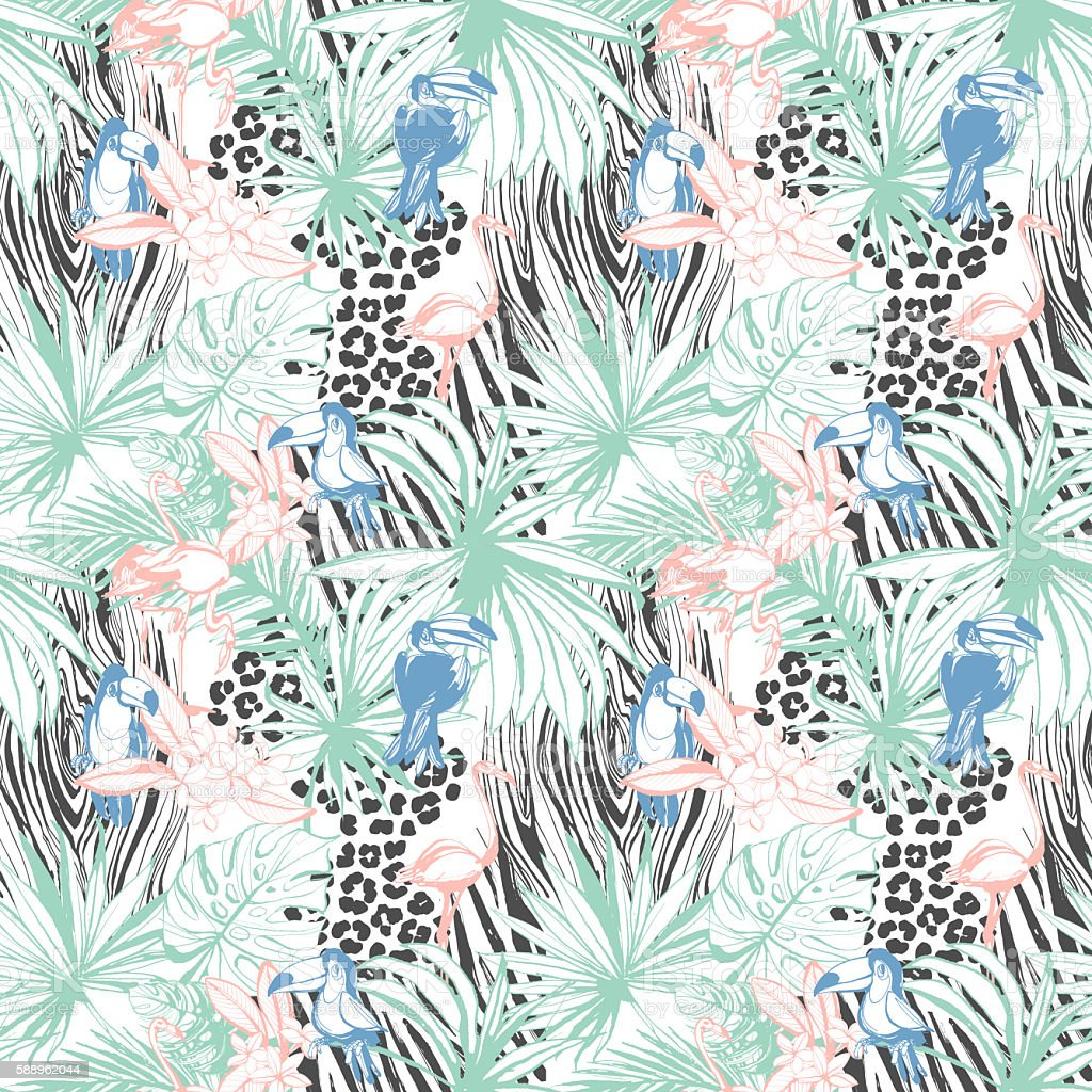 Tropical floral summer seamless color background pattern stock photo