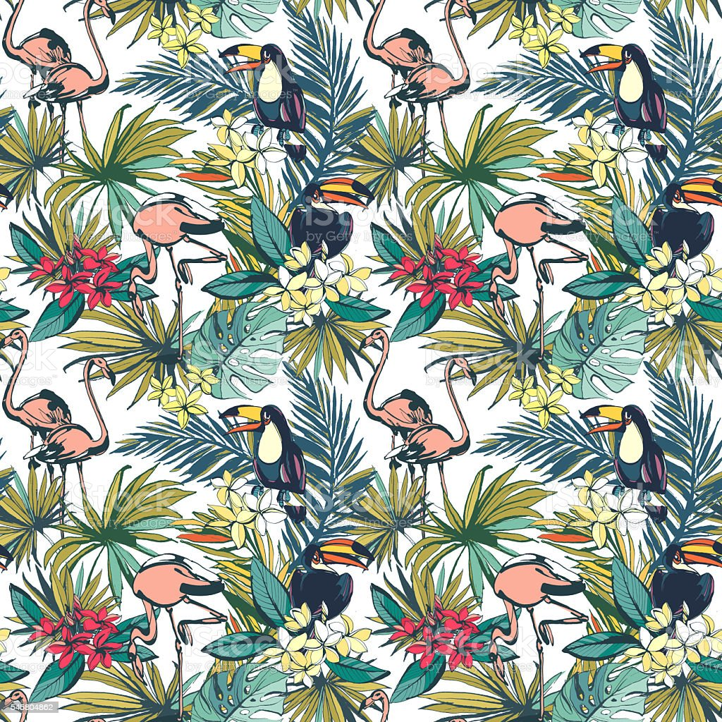 Tropical floral summer seamless pattern with palm beach leaves, stock photo