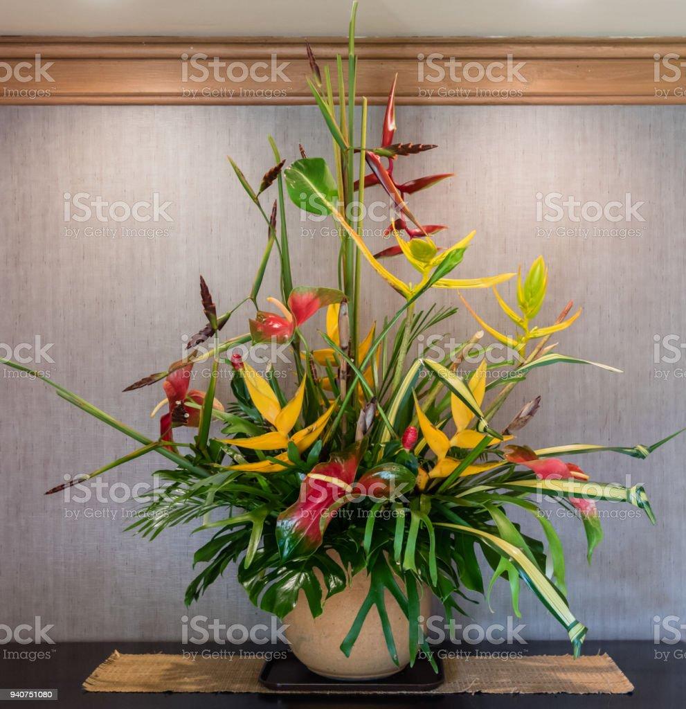 Tropical flower arrangement on Kauai stock photo
