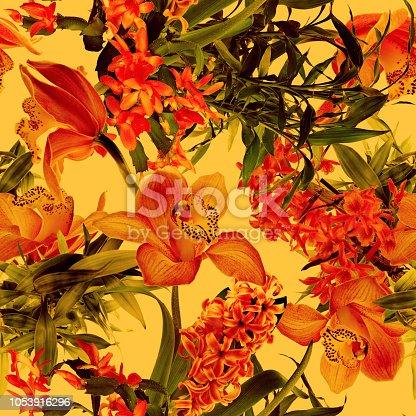 istock Tropical flower pattern 1053916296