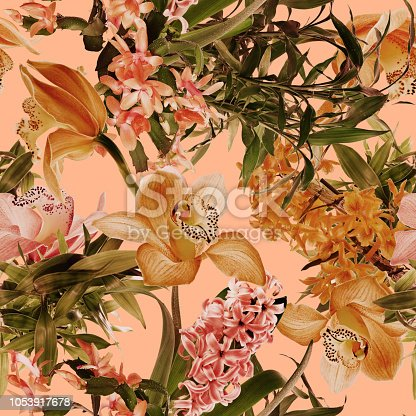istock Tropical flower pattern 1053917678