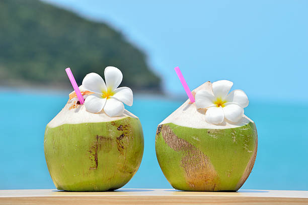 tropical fresh coconut cocktail decorated plumeria on tropical c - caribbean food stock photos and pictures