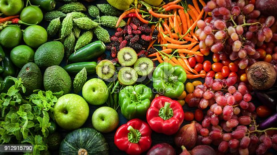 istock Tropical fresh fruits and vegetables organic for healthy lifestyle, Arrangement different vegetables organic for eating healthy and dieting 912915790