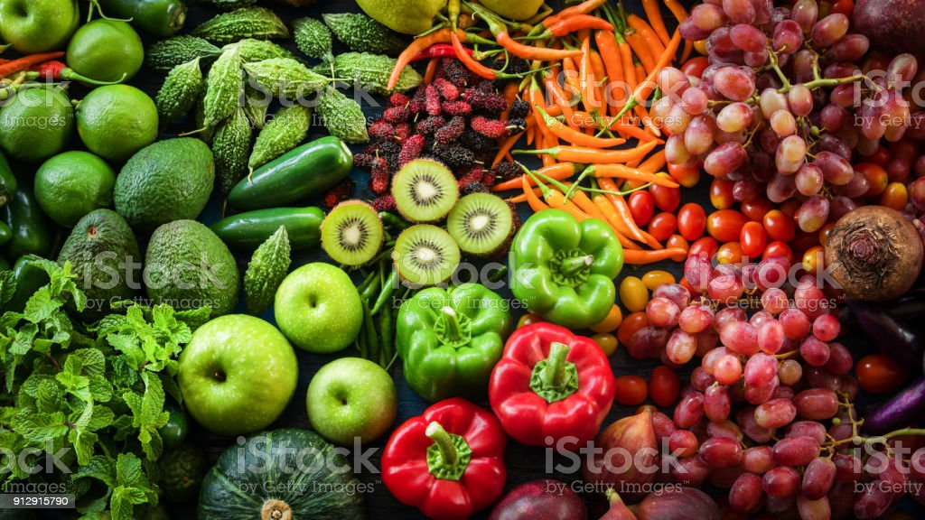 Tropical fresh fruits and vegetables organic for healthy lifestyle, Arrangement different vegetables organic for eating healthy and dieting stock photo