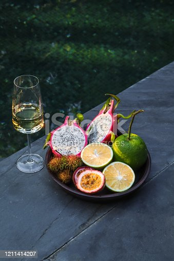 Tropical fruit and Champagne by the  Swimming Pool