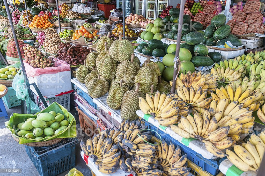 Tropical Fruit At A Street Market In Phnom Penh, Cambodia stock photo